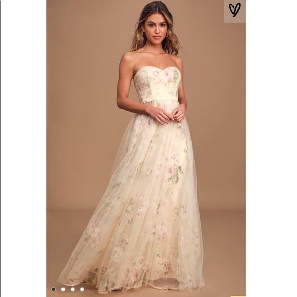 Lulu's Dresses & Skirts - Beige Floral Strapless Maxi Dress